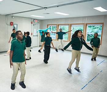A group of students dancing
