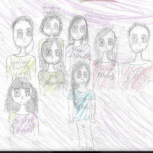 A student's artwork of their family members