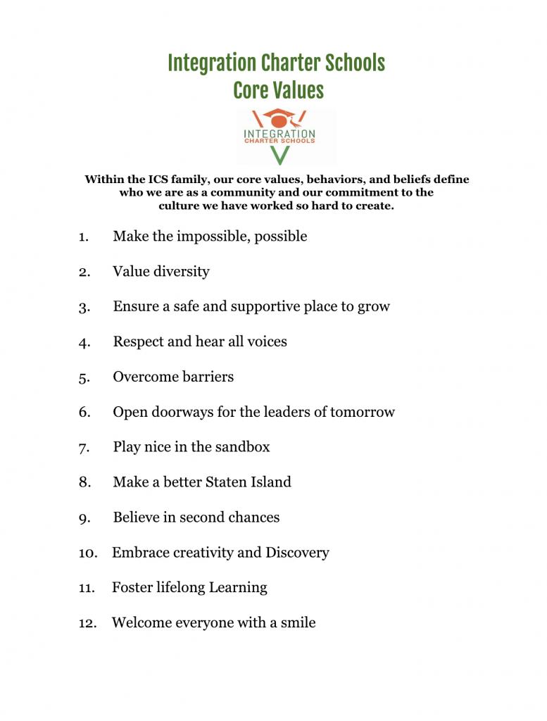Integration Charter Schools core values